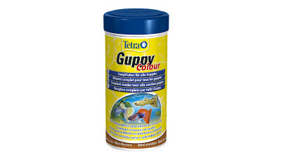 Tetra Guppy Colour  is a complete flake food designed for guppies and other live-bearing fish, providing more intense colour.